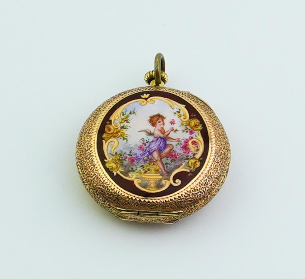 LADY'S 14K TEXTURED YELLOW GOLD OPEN-FACE PENDANT WATCH WITH ENAMELED CASE,