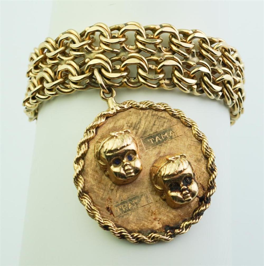 14K YELLOW GOLD MULTI-LINK FLEXIBLE STRAP BRACELET SUSPENDING MEDALLION CHARM,