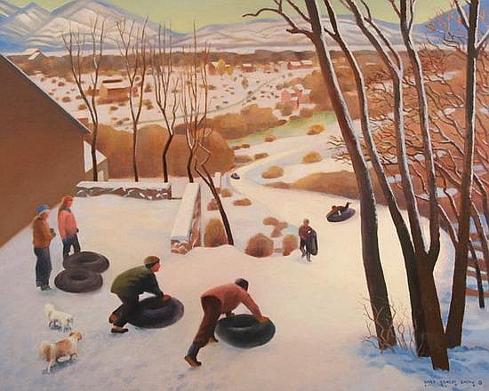 GARY ERNEST SMITH (American, b. 1942). TUBING HILL, signed and dated 1994 lower right. Oil on canvas.