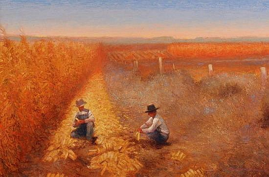 GARY ERNEST SMITH (American, b. 1942). CORN FARMERS, signed lower right. Oil on canvas.