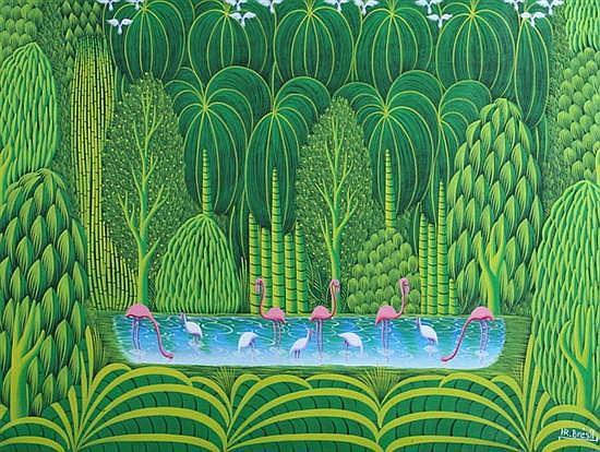 HENRI ROBERT BRESIL (Haitian, 1952-1999). FLAMINGOES, signed lower right. oil on canvas.