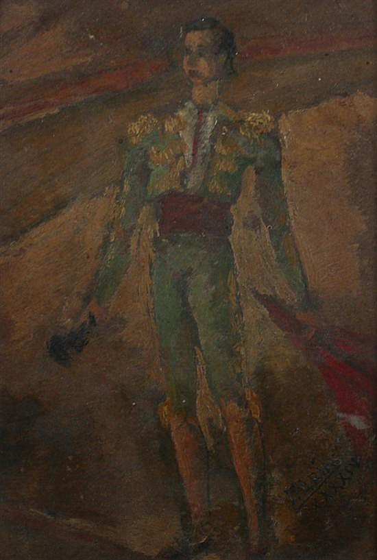 FRANCISCO ARIAS ALVAREZ (Spanish, 1911-1976). TORERO, signed and dated XXXXIV lower right. Oil on board.