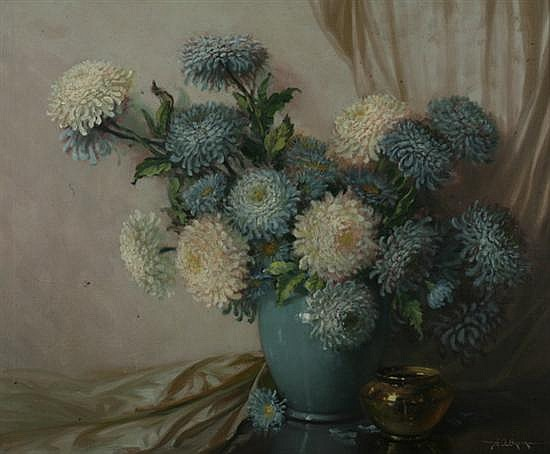 AUBREY DALE GREER (American, 1904-1998). STILL LIFE WITH BLUE AND WHITE SHASTA DAISIES, signed lower right. Oil on canvas.