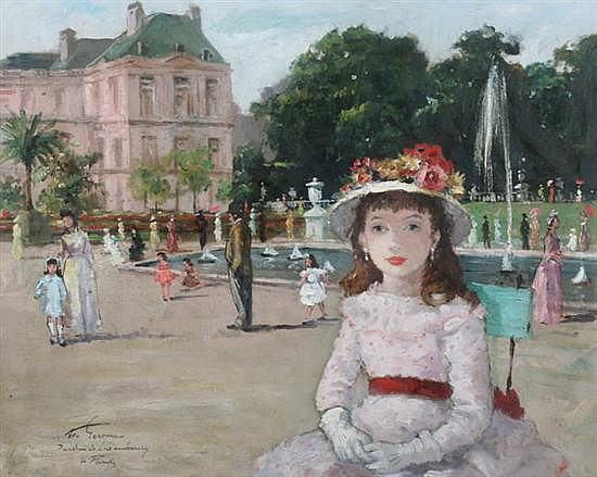 FRANÇOIS GEROME (French, b. 1895). GIRL IN HAT IN LUXEMBOURG GARDENS, PARIS, signed and located lower left. Oil on canvas.