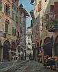 AUGUST FISCHER (Danish, 1854-1921). A STREET IN LUGANO, signed, dated '86 and located