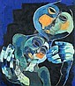 OSWALDO GUAYASAMÍN (Ecuadorian, 1919-1999). FIGURAS, signed lower left. Oil on canvas.