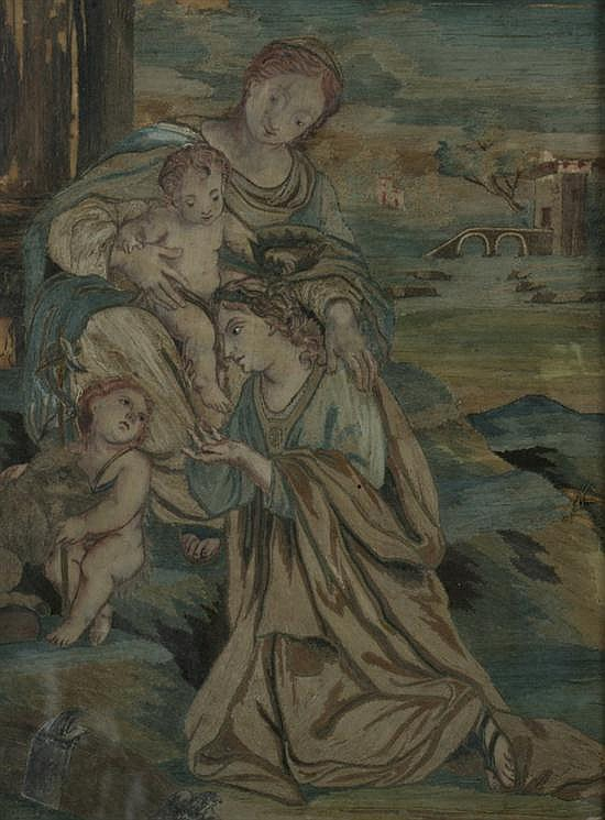 CONTINENTAL EMBROIDERED AND PAINTED PICTURE, 18th century. - 16 3/4 in. x 13 in.