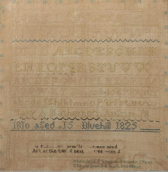 SCHOOLGIRL NEEDLEWORK SAMPLER. Worked by Mary A Mather, born 1810; sampler dated Bluehill, 1825. - 15 1/4 in. x 15 in.