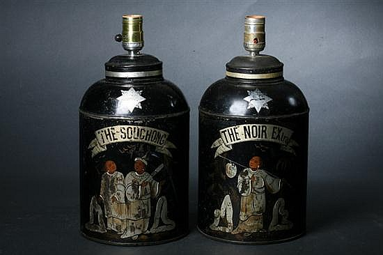 PAIR FRENCH TOLE-PEINT TEA CANISTERS, late 19th century. - 11 in. high, canister.