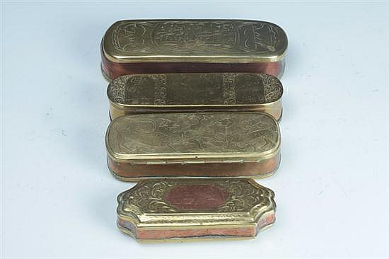 FOUR DUTCH BRASS TOBACCO BOXES, 18th century.