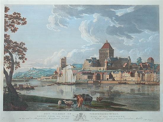 AFTER HENDRIK HOOGERS (Dutch, 1747-1814). Het Valkhof of Vorstendoms-Burgt, Eeven voor de Slooping in 1795 Geteekend, Hand-colored engr