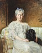 SIR ARTHUR STOCKDALE COPE (British, 1857-1940). PORTRAIT OF ELEANOR BARETT PALMER (1864-1929) WITH HER FAITHFUL COMPANION,