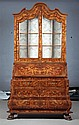 BAROQUE DUTCH STYLE MARQUETRY INLAID SECRETARY BOOKCASE. 21st century, made in Italy. - 96 in. x 47 in. x 25 in.