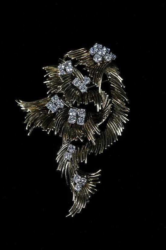 18K YELLOW GOLD AND DIAMOND SCROLLING ABSTRACT LEAF CLUSTER BROOCH, Made by J.G. Jewelry.