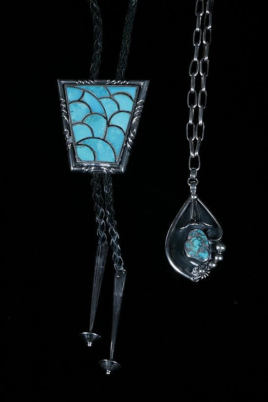 TWO ITEMS SOUTHWEST AMERICAN INDIAN SILVER AND TURQUOISE JEWELRY.