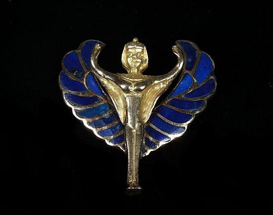 EGYPTIAN HIGH KARAT YELLOW GOLD AND COBALT ENAMEL PENDANT OF DEITY. - 9 gr.