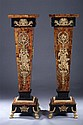 PAIR CONTINENTAL NEOCLASSICAL STYLE FAUX-TORTOISE INLAID PARCEL-GILT PEDESTALS, 20th century, with black faux-marble veneer enrichments