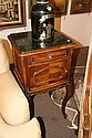 PAIR LOUIS XV STYLE DARK GREEN MARBLE-TOP SIDETABLES, early 20th century. - 34 in. x 17 3/4 in. x 16 in.