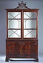 PAIR CHINESE CHIPPENDALE STYLE MAHOGANY BREAKFRONT CHINA CABINETS, 20th century, in two parts. - 91 in. x 61 1/2 in. x 16 1/2 in.