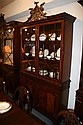 GEORGE III CARVED MAHOGANY CHINA CABINET IN THE CHIPPENDALE TASTE, Baker Furniture Co. - 97 in. x 52 1/2 in. x 14 1/2 in.