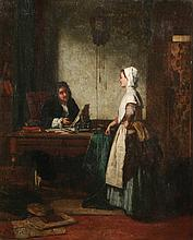 """JEAN CAROLUS (Belgian, 1814-1897). INTERIOR SCENE FROM MOLIERE, signed and dated 1863 lower left; also signed, located """"Bruxelles"""" and"""