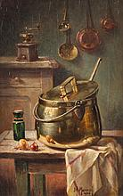 MAURICE LOUIS MONNOT (French, 1869-1937). KITCHEN INTERIOR AND SOUP POT: TWO WORKS, first; signed lower right and second; signed and da