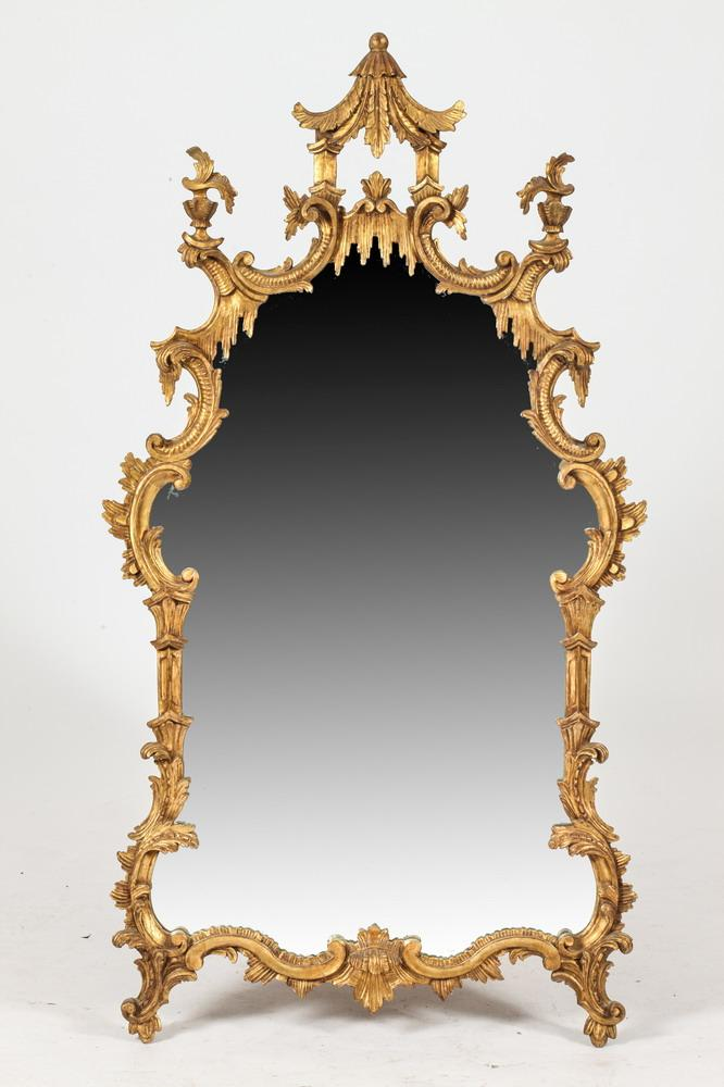 Chinese chippendale style wall mirror with pagoda crest lat for Asian style mirror