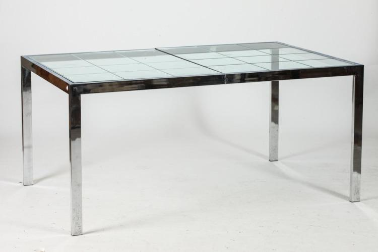 Contemporary Designer Extending Glass Dining Table With Two