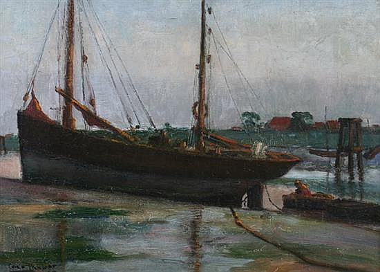 CARLO VAN HER (Belgian, 1884-1960). BARQUES, PETIT-FORT-PHILIPPE, DUNKERQUE, FRANCE, signed and dated '57 lower left; also signed, tit