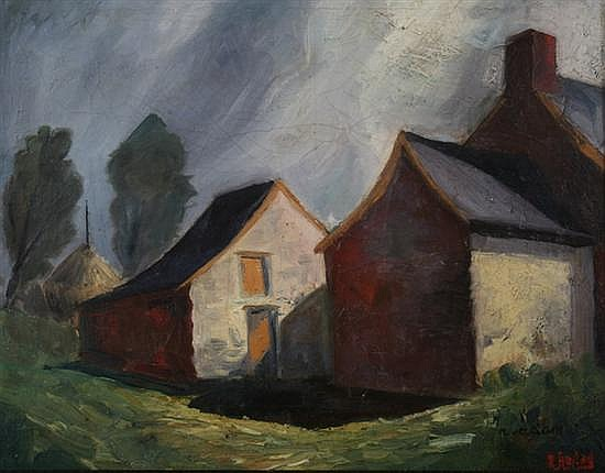 R. ADAM (Continental, 20th century). FARMHOUSES AND SHADOWS, signed lower right. Oil on canvas.