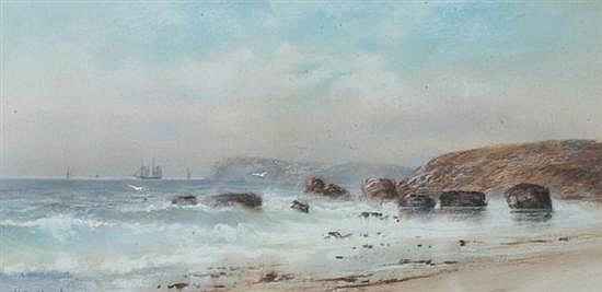 WALTER SIMMONS HUNT (American, 1843-1901). COASTLINE WITH GULLS, signed lower left. Pastel.