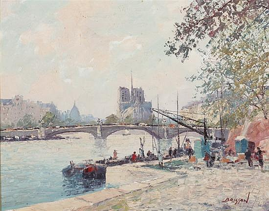 MARCEL BRISSON (French, b. 1915). ON THE SEINE, signed lower right. Oil on canvas.