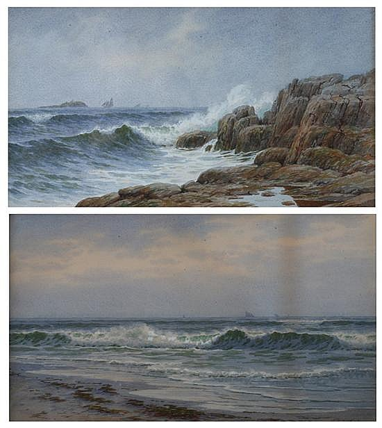 J. D. HUNTING (American, 19th/20th century). CRASHING WAVES and ALONG THE COAST: TWO WORKS, each signed lower right. Gouache.