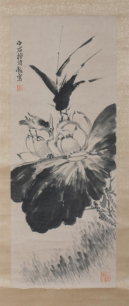 AFTER LI SHI JUN (Chinese, ?-1933). BIRD AND LOTUS, ink and color on paper scroll, signed and sealed.