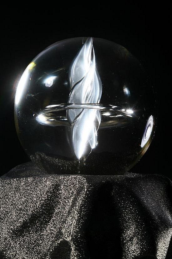 WORLD RENOWNED ASTROLOGER SYDNEY OMARR'S LEGENDARY CRYSTAL BALL, Created and signed by Master Glass Sculptor Pino Signoretto of Murano