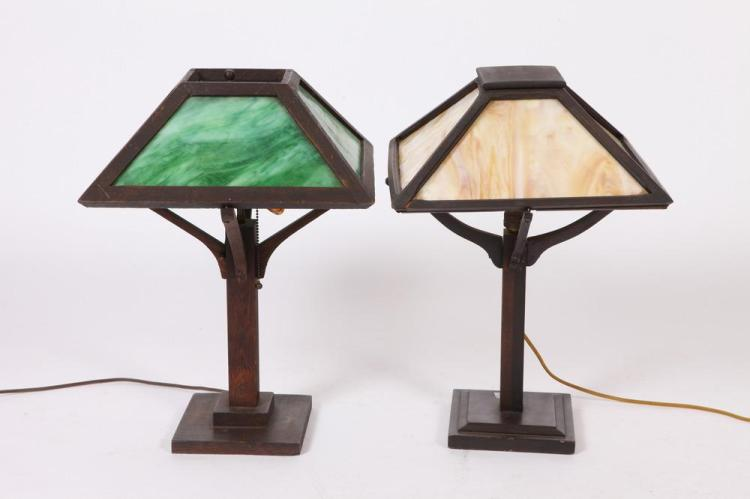 Two early 20th century arts crafts wooden lamps with slag for Crafting wooden lamps