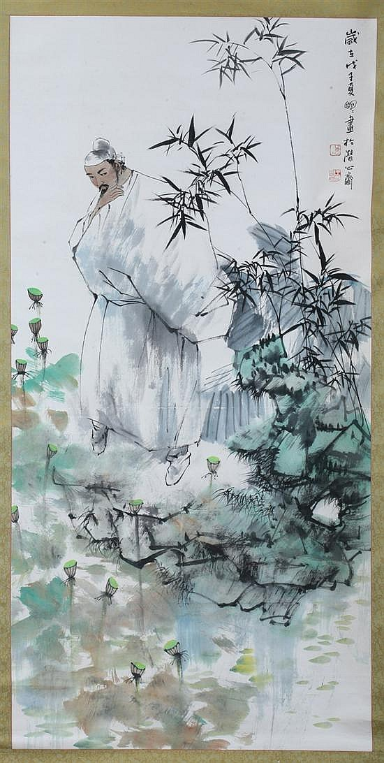 ATTRIBUTED TO WANG MINGMING, (Chinese, b. 1952). SCHOLAR AND BAMBOO, ink and color on paper scroll, signed and sealed, dated wu zi, 200