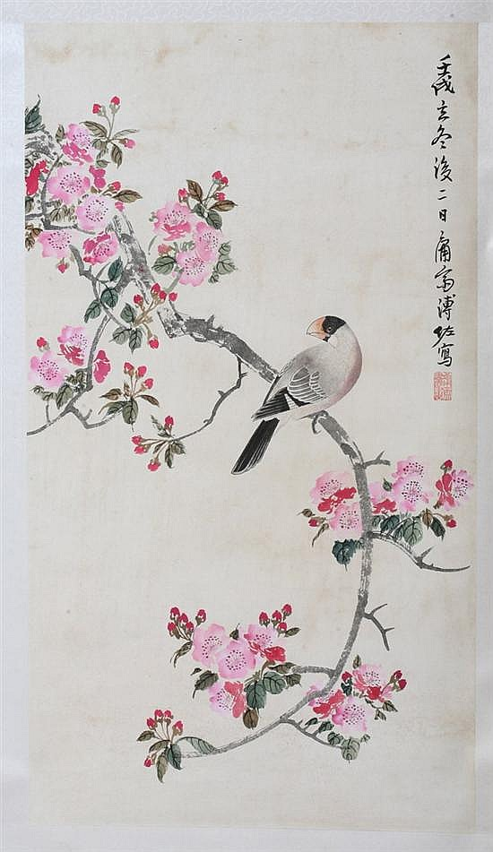AFTER PU ZUO. (Chinese, b. 1918). BIRD PERCHED ON FLOWERING BRANCH, ink and color on paper scroll, signed and sealed.