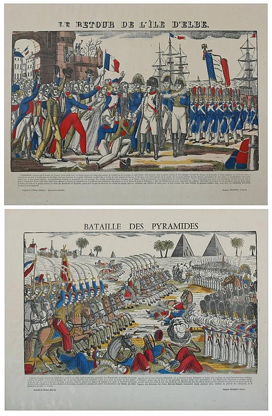 AFTER FRANÇOIS GEORGIN (French, 1801-1863). La Vie de Napoléon: Eight Works, Woodcut on paper with hand-coloring. Published Imagerie Pe