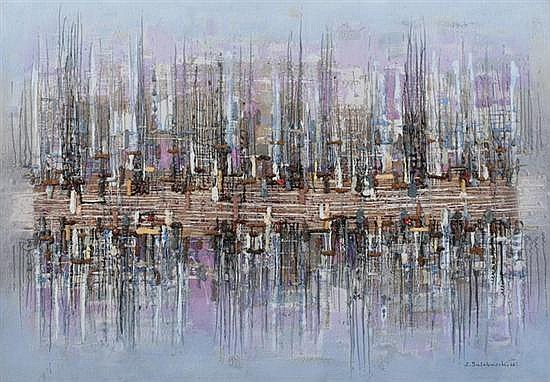 ZDZISLAW SALABURSKI (Polish, 1922-2006). ABSTRACT REFLECTIONS, signed and dated '66 lower right and verso. Oil on canvas.
