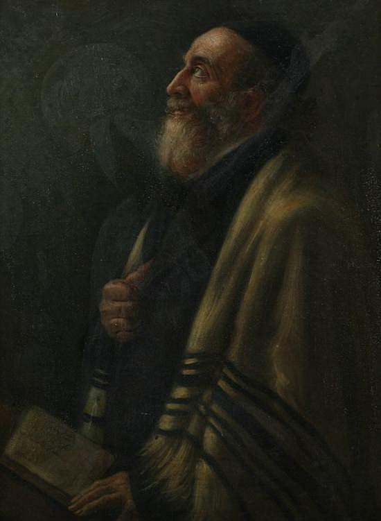 MORITZ GOTTLIEB (Polish, 1856-1879). PORTRAIT OF A RABBI, oil on canvas.