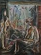 ATTRIBUTED TO CARLOS ENRIQUEZ (Cuban, 1900-1957). PAREJA EN UNA CASITA RÚSTICA, bears signature lower left. Oil on canvas., Carlos Enriquez, Click for value