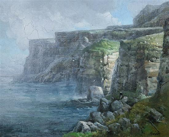 ROBERT MAIONE (American, 1932-1987). CLIFFS AT TRESHNISH, ISLE OF MULL, SCOTLAND, signed lower right and titled on stretcher. Oil on ca