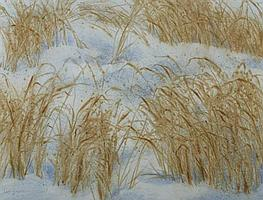 LEE WEISS (American, b. 1928). BATTERED GRASS, signed lower left. Watercolor.