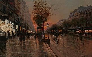 FAUSTO GIUSTO (Italian, 1867 - 1941). PARIS STREET SCENE AT END OF DAY, signed lower left. Oil on canvas.