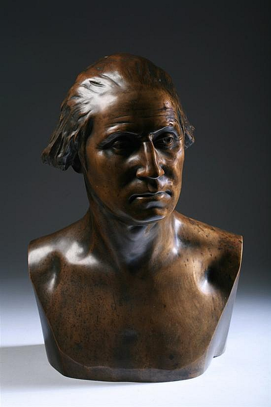 JAMES WILSON ALEXANDER MACDONALD (American, 1824-1908). LIFE CAST BUST OF GEORGE WASHINGTON, AFTER HOUDON, Signed and inscribed on base
