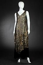 O'NEILL'S BALTIMORE BLACK VELVET AND GOLD BROCADE EVENING DRESS AND COAT, Early 1920s.