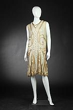 FRENCH BEADED FLAPPER DRESS, Circa 1925; size 46.
