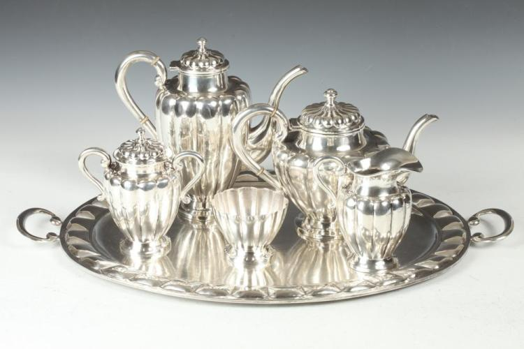 SIX-PIECE MEXICAN STERLING SILVER TEA, COFFEE SERVICE & MATC