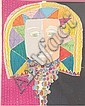 GLORIA VANDERBILT (American, 20th century). CARNIVAL MASK, signed and numbered 147/300 in pencil, lower margin. Color lithograph., Gloria Vanderbilt, Click for value